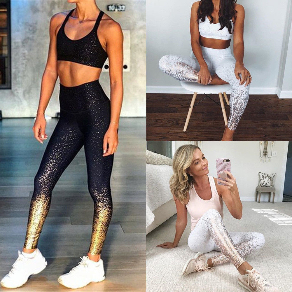 2019 Women Lady High Waist Sequin Sport Trousers Running Workout Scrunch Gym Stretchy Trousers Fitness Leggings Women Leggings