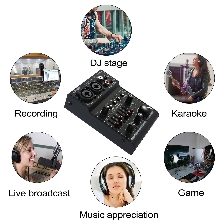 Ammoon AGM02 2-Kanal Mischpult Digital Audio Mixer Sound Karte 2-band EQ Eingebaute 48 v Phantom power 5 v USB für Live