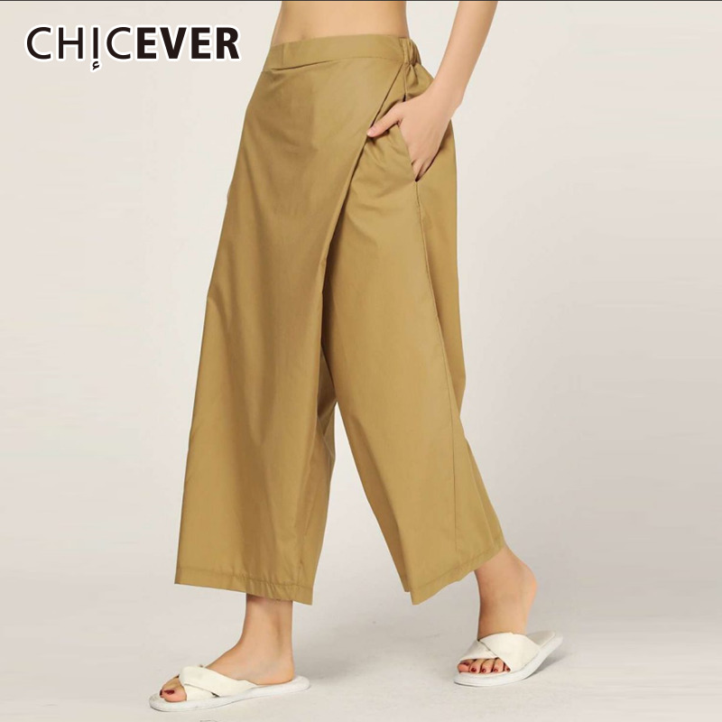 CHICEVER Casual Women   Pant   Elastic Waits Flat Patchwork Pockets Ankle-length Female   Wide     Leg     Pants   2019 Fashion New