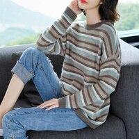Бренд женский шерстяной вязаный свитер 2018 Осень Зима Новая мода популярная цветная полоска свитер с круглым вырезом Пуловер женский