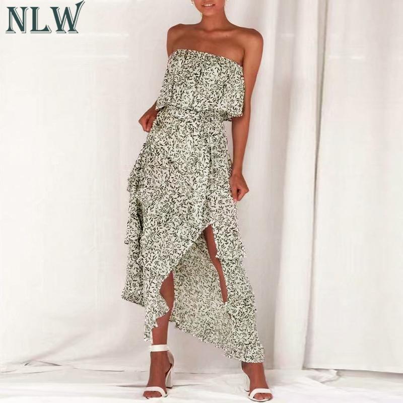 NLW Summer 2019 Casual Strapless Maxi Dress Women Ruffle Flounce Sexy Split Female Dress Long Beach Dresses Vestidos