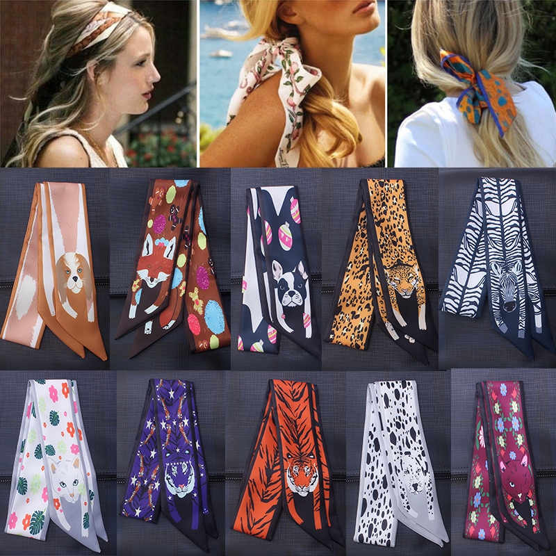 Women Scarf Elegant Hair Small Band Silk Satin Square Head-Neck Feel Vintage Tie Animal Pattern Bag Handle Ribbon