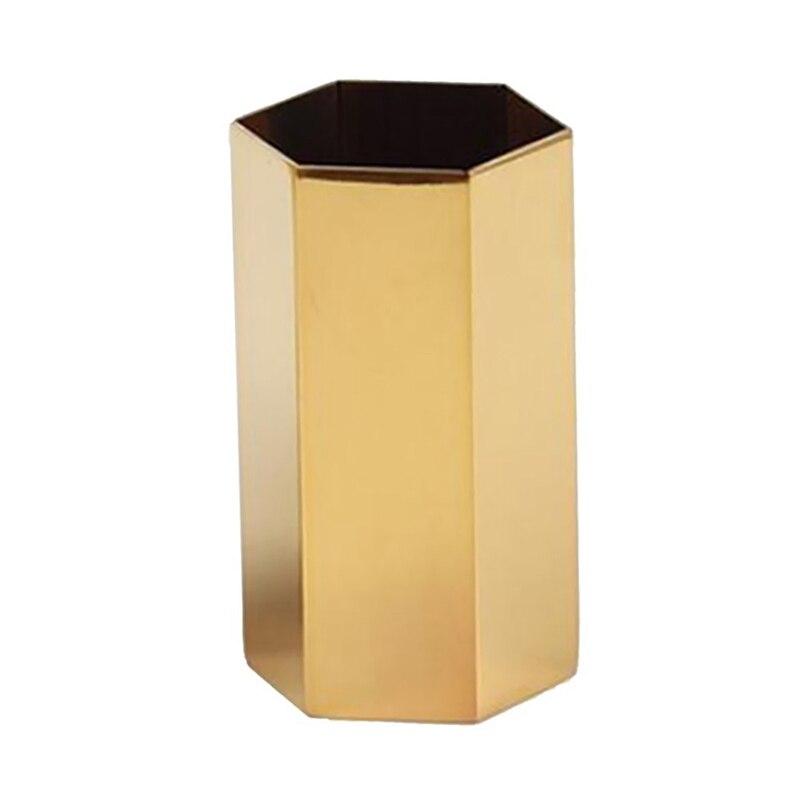 Gold Flower Vase Pen Holder Desktop Storage Container For Home Office - Hexagon