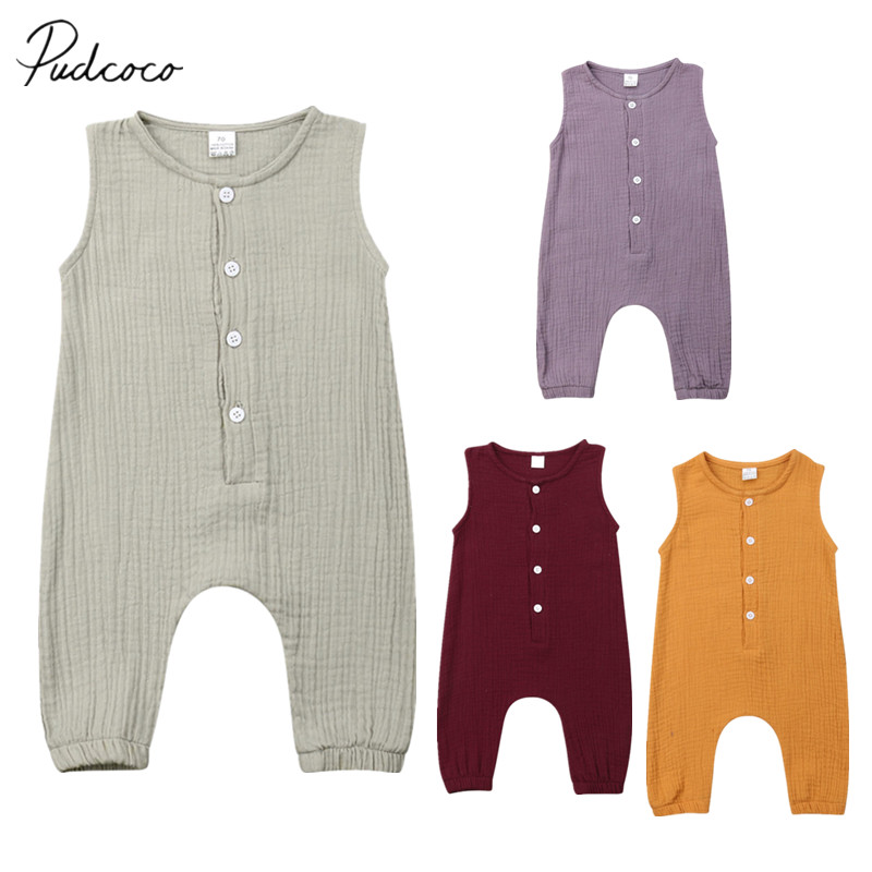 752a54048af1 2019 Children Summer Clothing Cute Newborn Infant Baby Boy Girl Solid  Romper Sleeveless Jumpsuit Outfits Cotton Soft Clothes ~ Best Deal June 2019