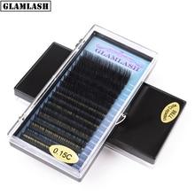 GLAMLASH Wholesale 16rows 7~15mm mix faux mink eyelash individual extension korean pbt soft false lash cilia