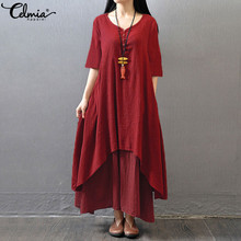 Celmia S-4XL Summer 2018 Vintage Cotton Linen Dress Women Half Sleeve V Neck Casual Long Maxi Dresses Kaftan Vestidos Plus Size