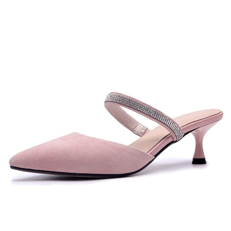 e79a62529 Розовые кожаные женские сабо 5,5 см высокие каблуки летние модельные туфли  с острым носком