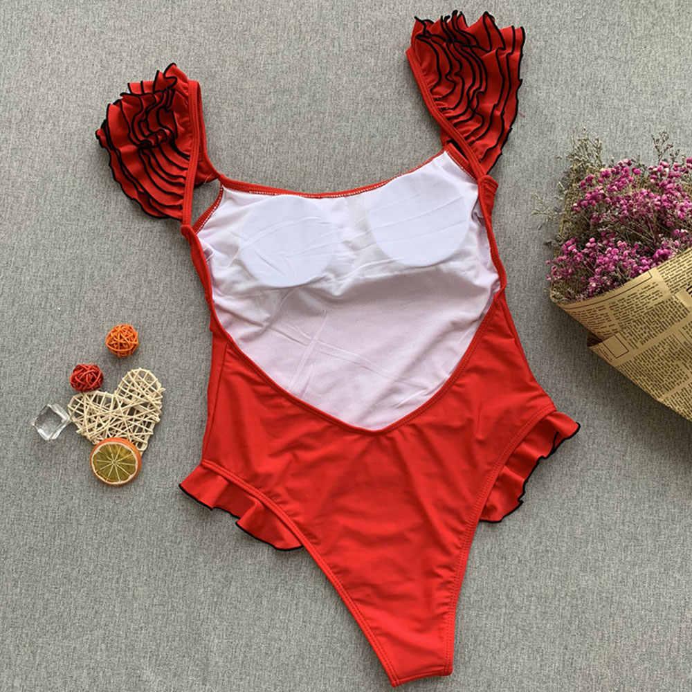 Belleziva wzburzyć ramię jednoczęściowy strój kąpielowy stroje kąpielowe kobiety Sexy Backless strój kąpielowy kwiatowy brazylijski Monokini kobiet body