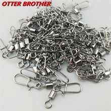30PCS 2# 4# 6# 8#10# 12#14# Stainless Steel Fishing Connector Pin Bearing Rolling Swivel Snap Pins  Fishing Tackle Accessories
