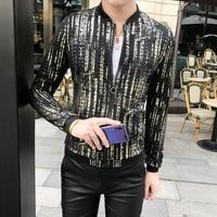 Luxury Gold Baseball Jacket Men Summer Bomber Jackets Men Hombre Fashion Club Party Prom Coat Streetwear Sunscreen Clothes