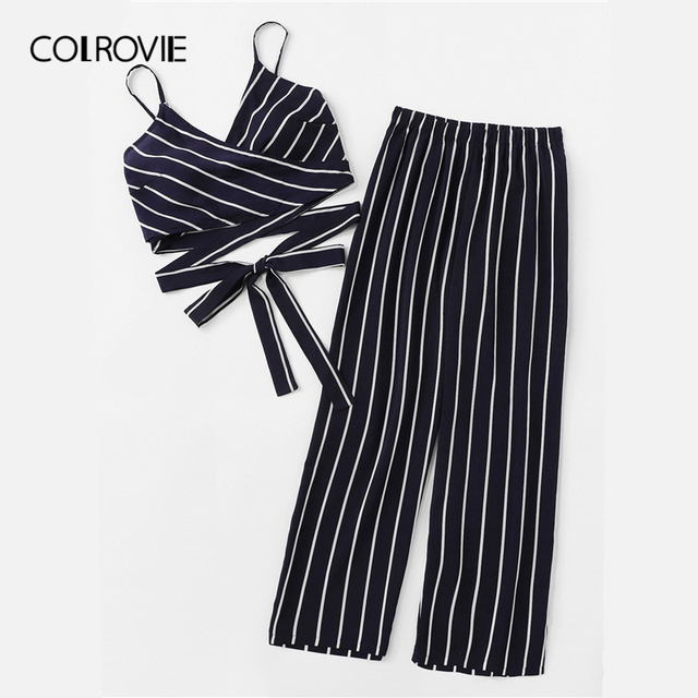 Navy Spaghetti Strap Striped Knot Boho Two Piece Set Cami Top With Pants