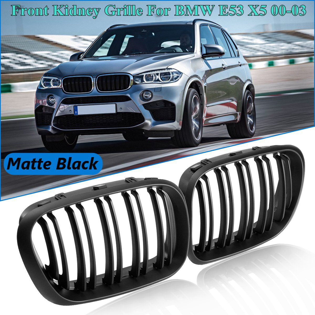 Pair Matte Black Front Kidney Grille Grills Double Slat For BMW E53 X5 2000 2001 2002