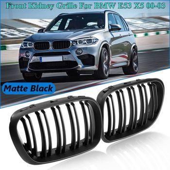 زوج ماتي الأسود شبكية الرادياتير الأمامية مشاوي مزدوجة السلط ل BMW E53 X5 2000 2001 2002 2003 سيارة التصميم
