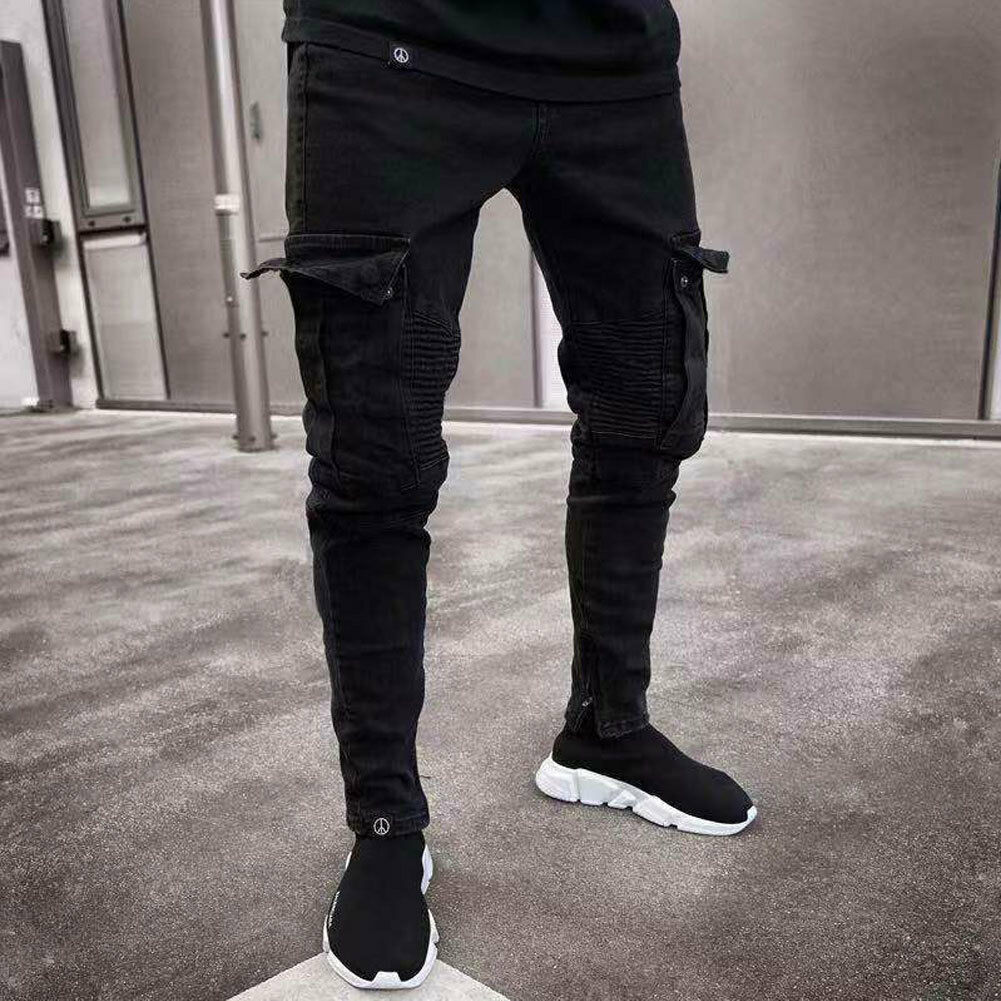 Fashion Men's Skinny Denim Destroyed Frayed Pencil Pants Vogue Male Pockets Slim Fit Cargo Pants Joggers  Trousers