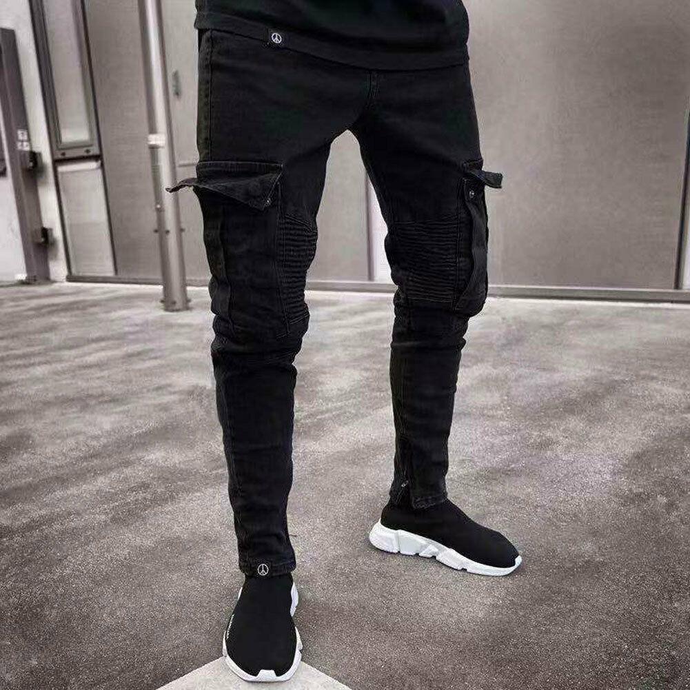 Fashion Men's Skinny Denim Destroyed Frayed Pencil Pants Vogue Male Pockets Slim Fit Cargo Pants Joggers  Trousers
