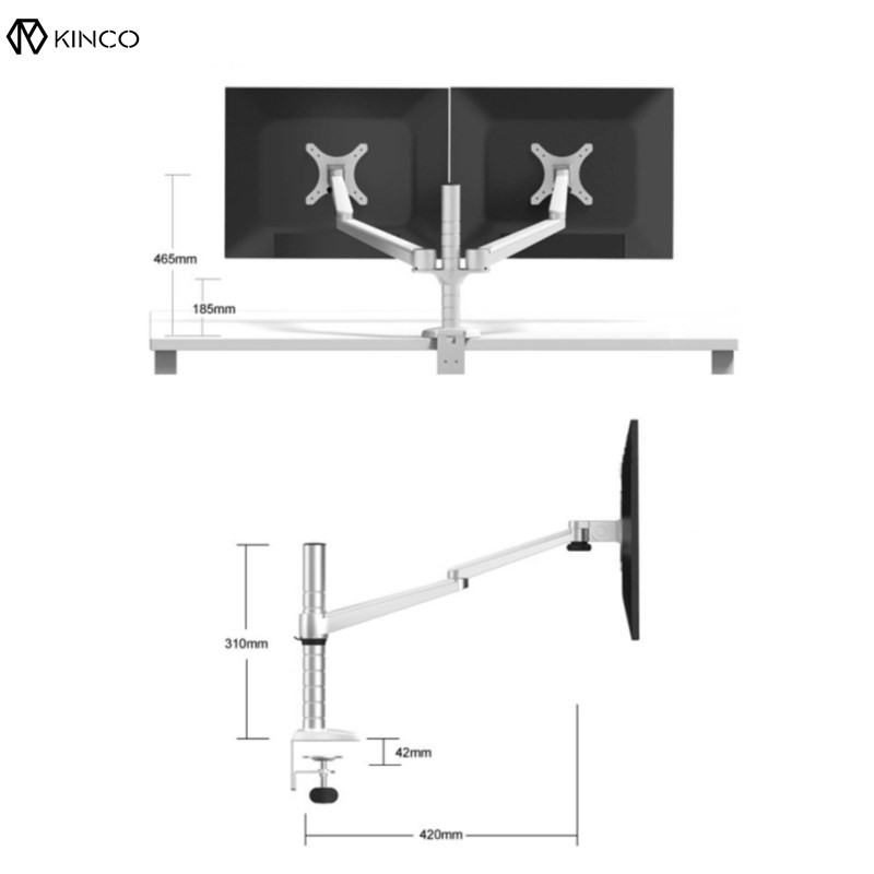 "Silver 10-27"" Double Arm Dual Screen Desktop Mount Monitor Adjustable Table Stand Pad Desk Mount Stand Monitor Bracket Shelf"