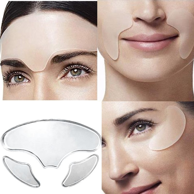 3Pcs Anti Wrinkle Silicone Eye Face Pad Reusable Medical Grade Face Mask Pad Anti-aging Prevent Face Wrinkle Dropship