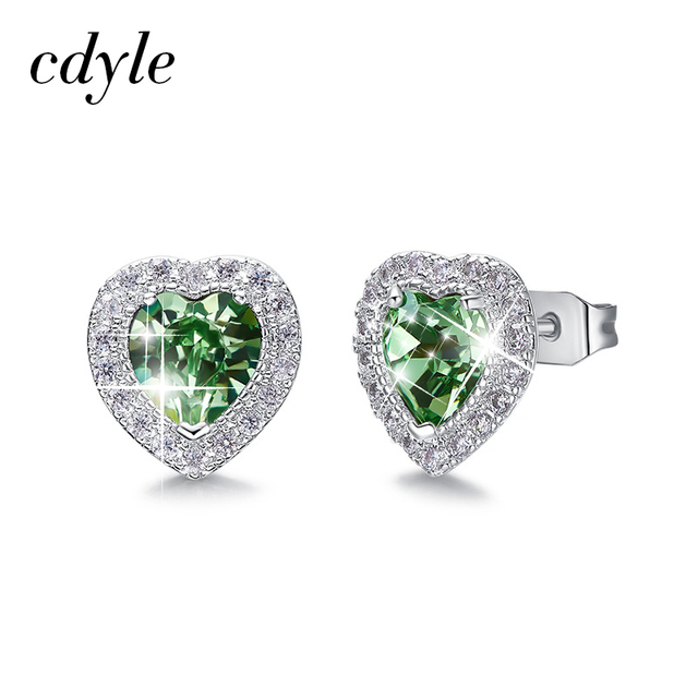 Cdyle Embellished with crystals from Swarovski Classic Stone Stud Earrings For Women Heart Crystals Brincos Statement Earrings