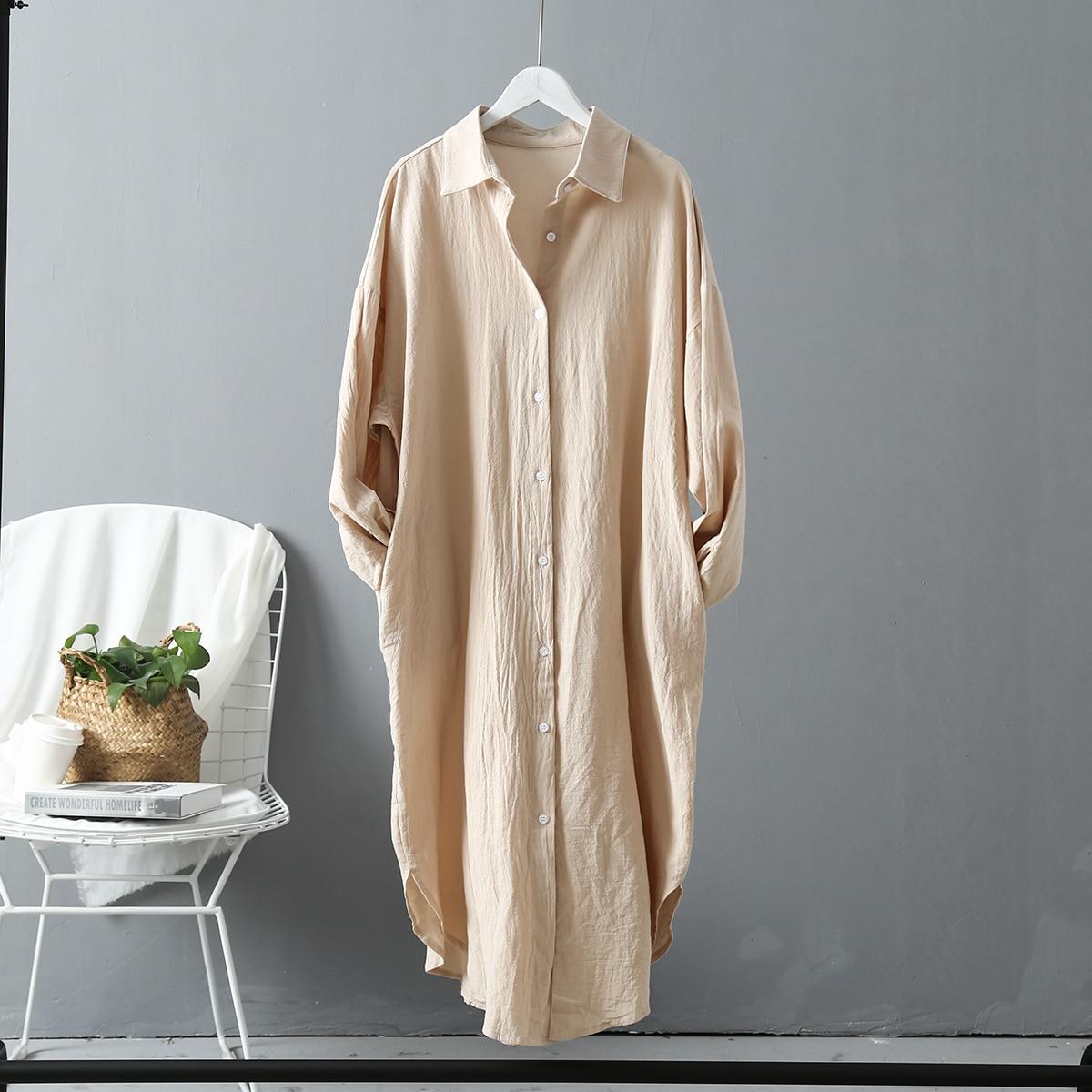 Korean Casual White Blouse Women Side Pocket Design Spring Autumn Ladies Tops Long Sleeve Cotton Linen Plus Size Long Shirts