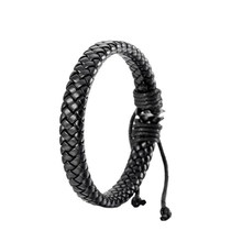 Fashion Unisex Leather Bracelet Bangle Cuff Cool Black Surfer Wrap Adjustable Rope Bracelets For Men Women(China)