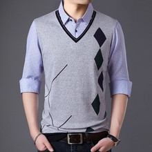 8ad9967144c523 2019 Spring Men New Arrival Pattern Twinset Sweater Vest Men Cashmere  Sweaters Wool Pullover Men Brand