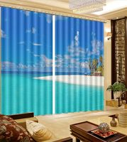 Beach Sand Seaview Ocean Blackout Scenic Photo 3D Curtains For Bedroom Kids Living Room Drapes Fabric Polyester Set with Hooks