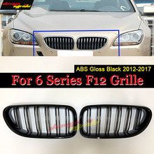 F12 Front Grille ABS Gloss Black For M6 F06 Double Slats Grills 640i 640d 650i 650d Gran Bumper Kidney 2012-17