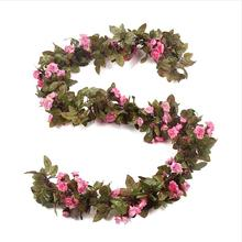 220cm Wedding Artificial Silk Rose Flower Wisteria Vine Rattan Hanging Flower Ga