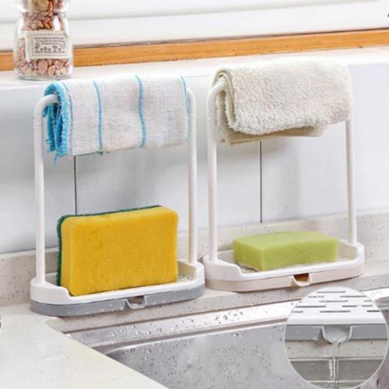 Saingace Sponge Holder For Kitchen Bathroom Sink Organizer Towel Rack Stand Hanger Kitchen Accessories Shelf 16.5 * 6.5 * 20cm
