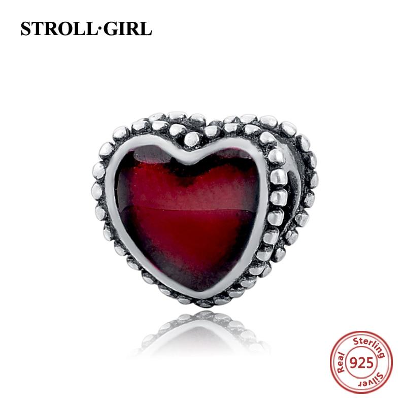 925 Sterling Silver European Enamel Röda Hjärtan Kärlek Pärlor - Märkessmycken - Foto 1