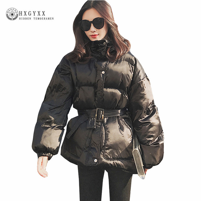 8b2badc9424 Black Winter Jacket Women Parka Female Belt Cotton Warm Outwear Quilted Coat  Plus Size Korean Clothes Snow Wear 2019 Okd403