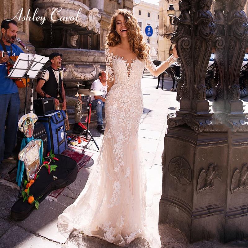 Ashley Carol Sexy Deep V-neckline Long Sleeve Mermaid Wedding Dresses 2019 Elegant Bridal Dress Romantic Vintage Wedding Gowns