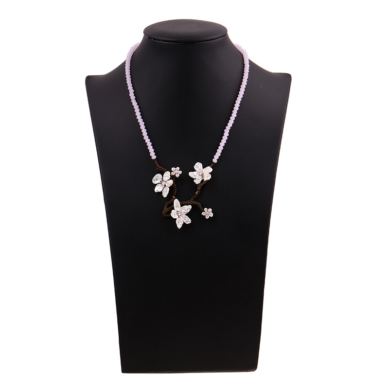 Free shipping baraoque pearls cherry blossom pink bead necklace