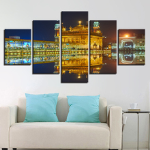 Canvas Wall Art Pictures Home Decor 5 Pieces Golden Temple Beautiful Night View Painting HD Printed Modular Poster Framework