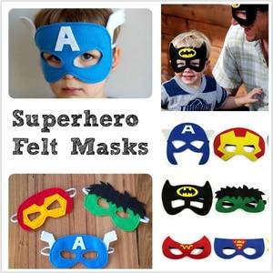 Image 2 - 20pcs/set Creative Cartoon Super Hero Masquerade Mask Childrens Day Party Supplies Christmas Wedding Decoration Birthday gift