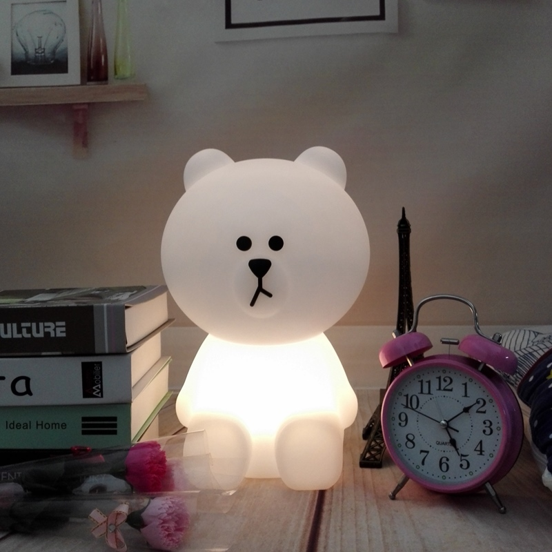 Dimmable Bear Rabbit Led Night Light Bunny Lamp Children Baby Kids Birthday Christmas Gift Toy Animal Cartoon Decor Table Lamp