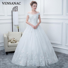 VENSANAC V Neck 2018 Sequined Ball Gown Wedding Dresses Elegant Short Sleeve Lace Appliques Backless Bridal Gowns