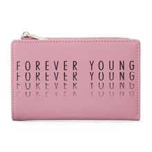 цена на Forever Young Short Wallet Women's Fashion Zip Coin Purse Korean Version Buckle Wallet Ins Ladies Wallet