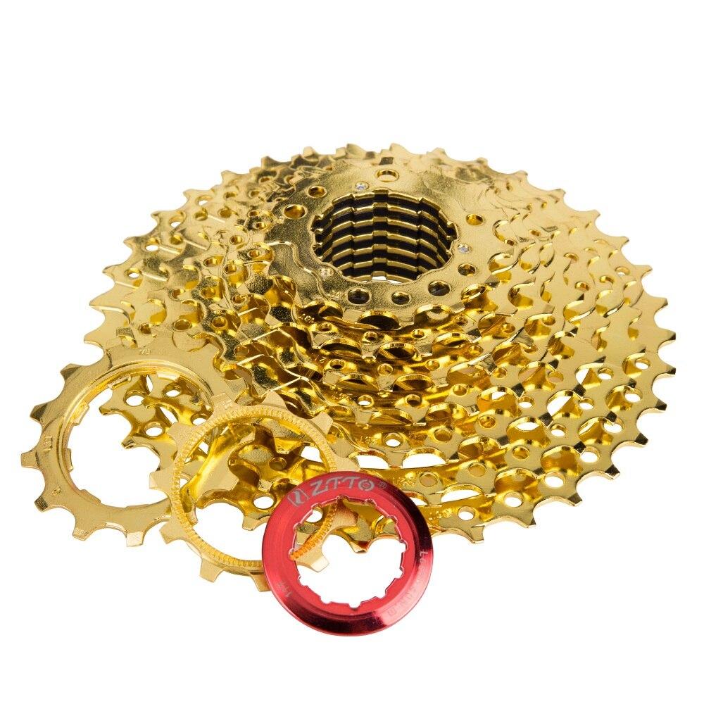 Rueda de bicicleta de 10 velocidades color dorado ZTTO 11-36T