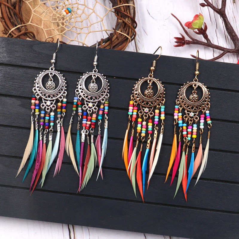 Fashion Feather Dangle Drop Earrings For Women Golden Silver Vintage Ethnic Rainbow Colors Hollow Out Oval Jewelry Accessories