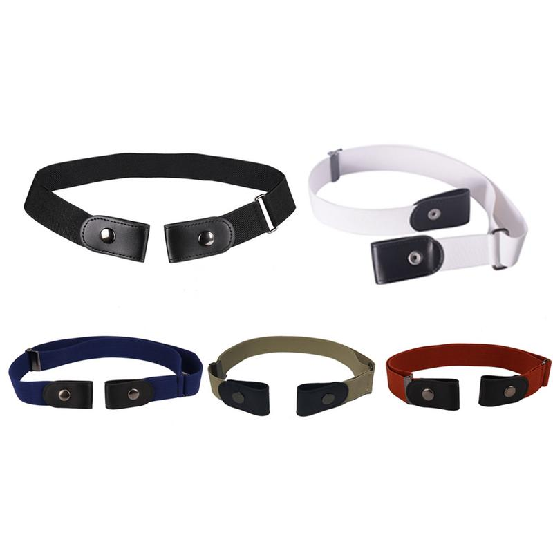 Unisex Buckle-Free Elastic   Belt   For Jeans Pants Dress Stretch Waist   Belt   For Women Men No Buckle   Belt   Without Buckle