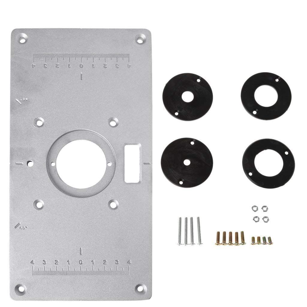 HHO-Aluminum Router Table Insert Plate W/4 Rings Screws For Woodworking Benches