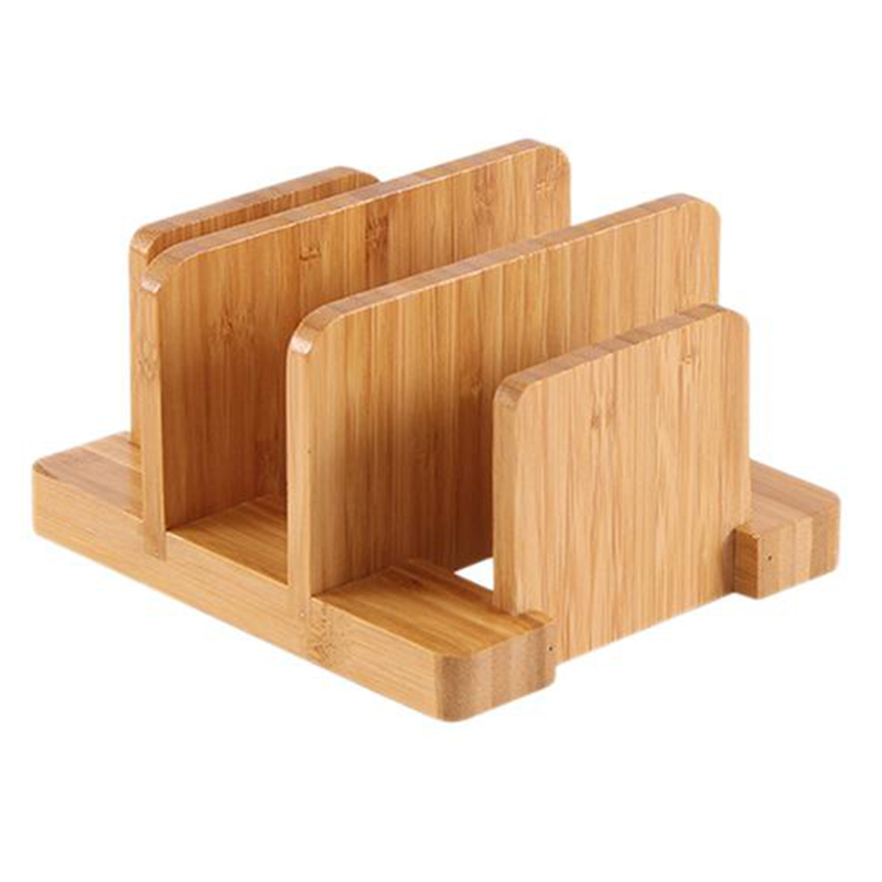 Multifunctional Durable Creative Bamboo Cutting Board Storage Rack Pot Lids Holder Kitchen Supplies Gadgets For Restaurant