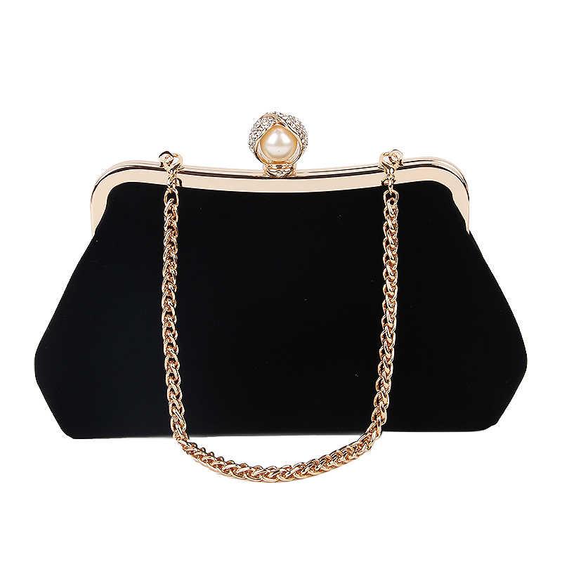 Simgesi kadın elmas inci çanta Vintage kristal çiçek akşam çanta düğün parti gelin el çantası çanta