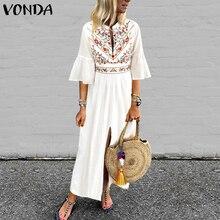 Vestido de las mujeres vestido Vintage estampado 2019 VONDA Sexy cuello en V de manga Split Maxi largo vestidos Plus tamaño Casual Suelto vestidos