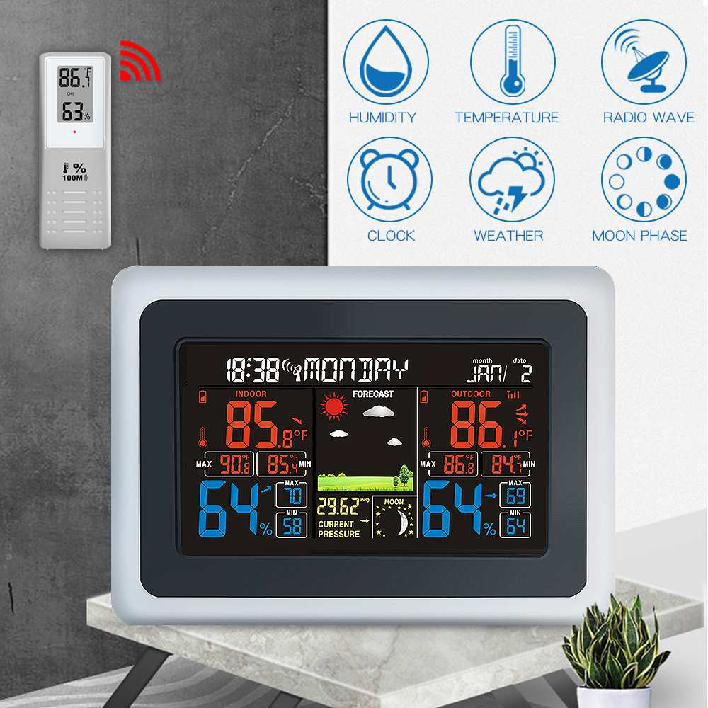 7inch  Wall Weather Station wave Thermometer Hygrometer Calendar Wireless Sensor LCD Display  Weather Wind Forecast7inch  Wall Weather Station wave Thermometer Hygrometer Calendar Wireless Sensor LCD Display  Weather Wind Forecast