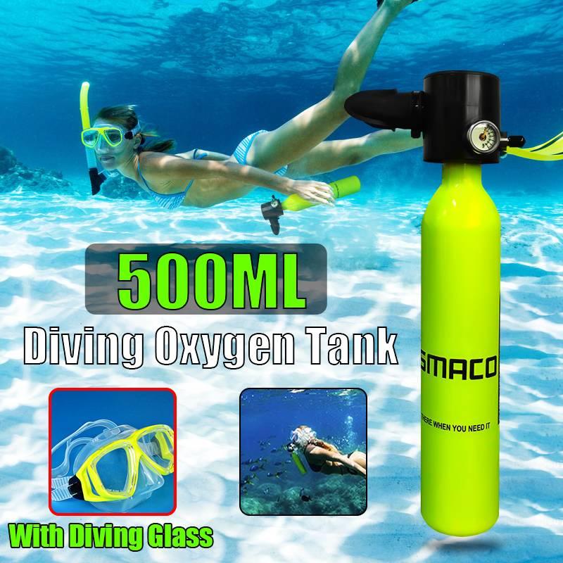 500 ML réservoir d'air Mini équipement de plongée sous-marine de rechange souffle de verre de plongée sous-marine pour les amateurs de plongée