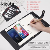 Multi Functional A5 Power Bank Notebook Notebook 8000 mAh Power Bank Qi Wireless Charging Note Book Binder Spiral Diary Book