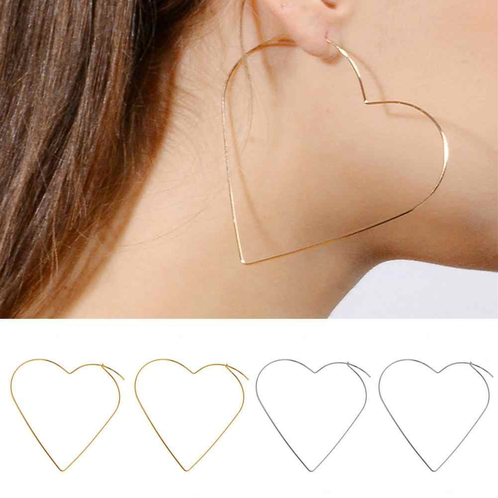 New Cute Hollow Big Heart Hoop Earrings For Women Gold Silver Color Copper Simple LOVE Trendy Romantic Jewelry Nice Gifts