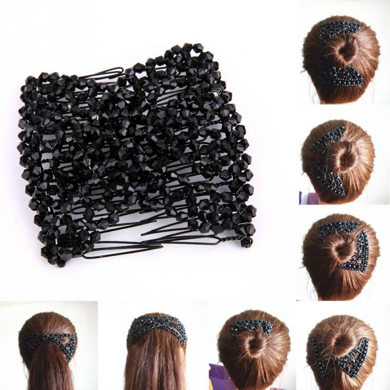 Women Pearl Beads Elastic Hair Combs Double Slide